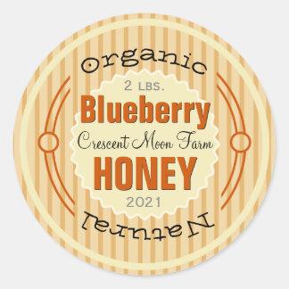 Organic Blueberry Personalized Honey Jar Round Sticker
