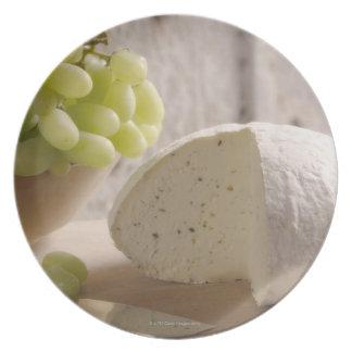 organic cheese on board plate