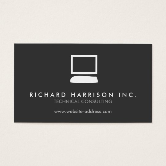 ORGANIC COMPUTER LOGO White/Grey Business Card