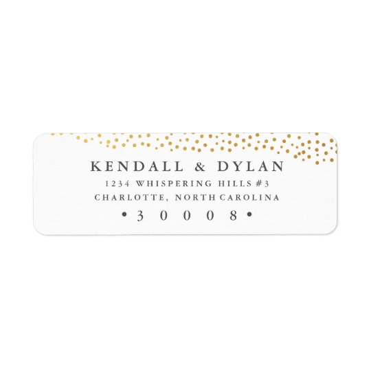 Organic dots faux foil return address label