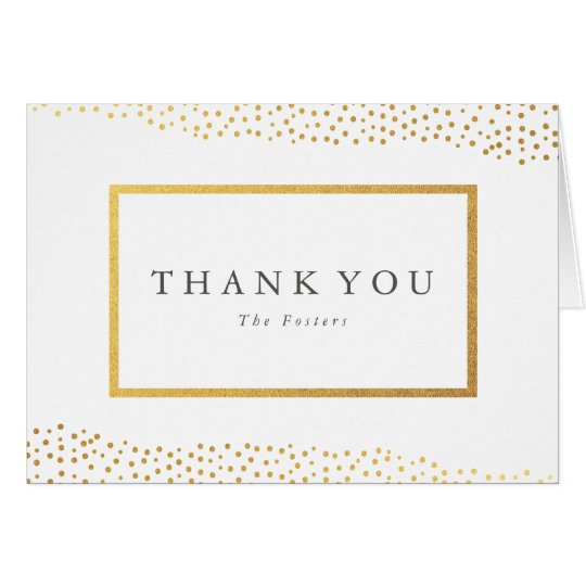 Organic dots faux foil thank you note card