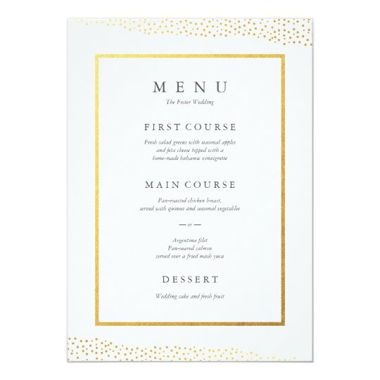 Organic dots faux foil wedding menu card