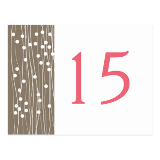 Organic Dots Lines Wedding Table Number Cards Post Cards