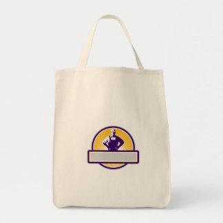 Organic Farmer Akimbo Sunburst Circle Retro Grocery Tote Bag