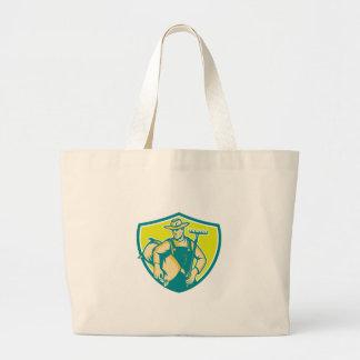 Organic Farmer Rake Sack Shield Woodcut Jumbo Tote Bag