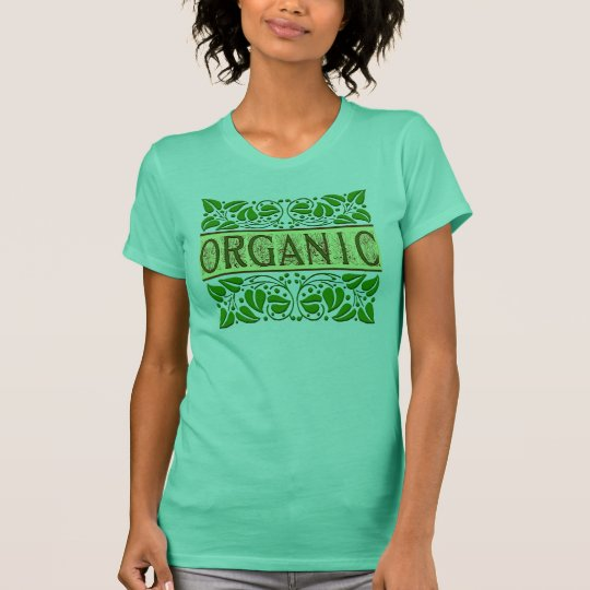 Organic Go Green Slogan with Leaves T-shirt