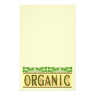 Organic Green Saying with Vintage Leaf Border Stat Custom Stationery