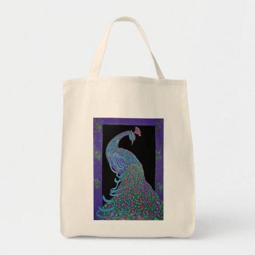 Organic Grocery Tote -Proud Peacock Bag