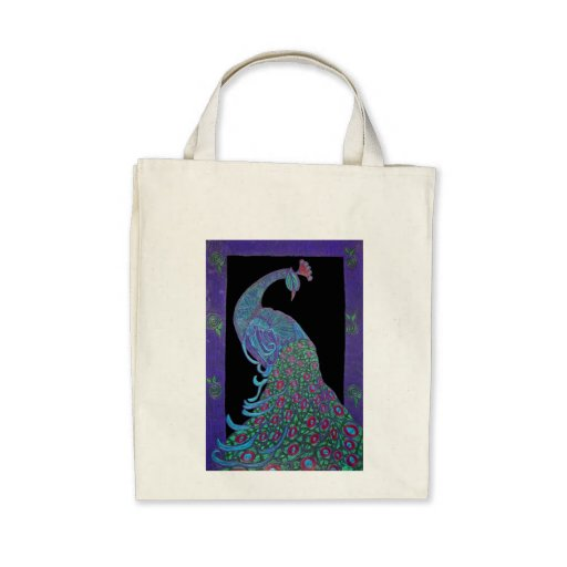 Organic Grocery Tote -Proud Peacock Bag