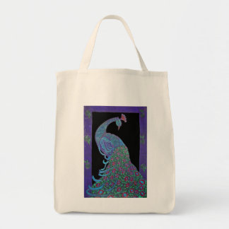 Organic Grocery Tote -Proud Peacock Grocery Tote Bag