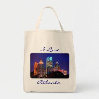 Organic Grocery Totebag  I Love Atlanta Skyline Bag