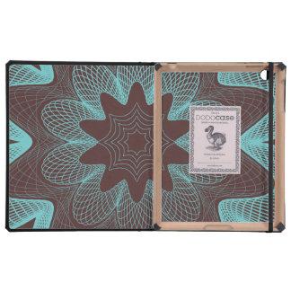 Organic Guilloche Flower brown blue iPad Case