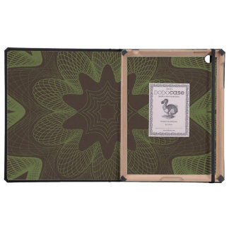Organic Guilloche Flower brown green Cover For iPad