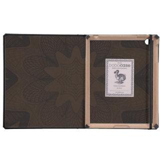 Organic Guilloche Flower browns iPad Folio Cover