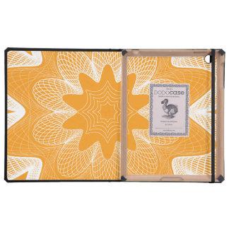 Organic Guilloche Flower orange iPad Folio Case