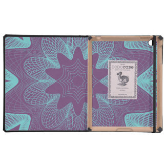 Organic Guilloche Flower purple light blue Covers For iPad