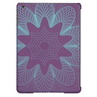 Organic Guilloche Flower purple light blue iPad Air Covers