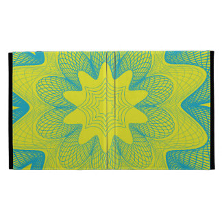 Organic Guilloche Flower yellow blue iPad Case