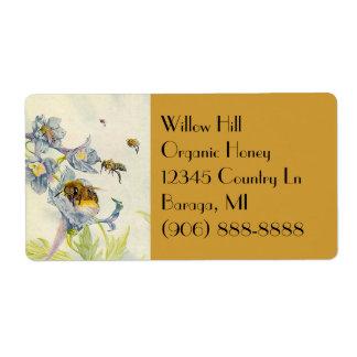 Organic Honey Bees Morning Glory Flowers Labels