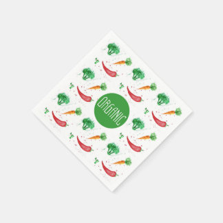 """Organic"" label with vegetable frame Disposable Napkin"
