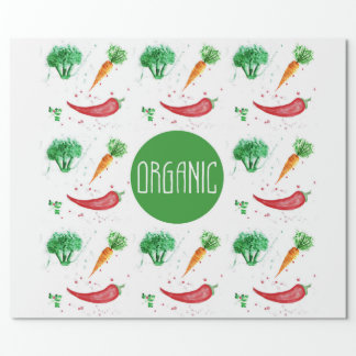 Organic label with watercolor vegetables wrapping paper