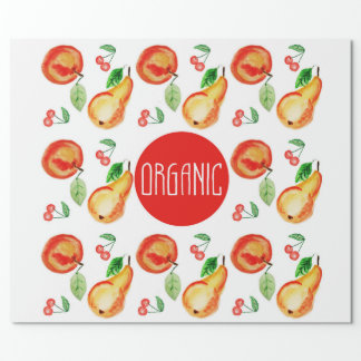 """Organic"" lablel with watercolor pears and apples Wrapping Paper"