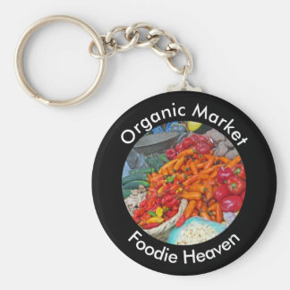 Organic Market - Foodie Heaven - Chiles & More Basic Round Button Key Ring