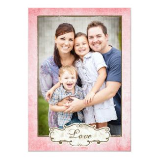 Organic Pink Grunge Double Sided Photo Holiday Card