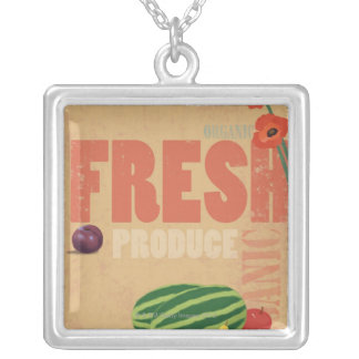 Organic Produce Silver Plated Necklace
