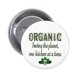 Organic Saving the Planet Kitchen Saying Button