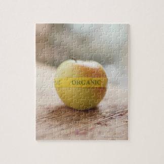 Organic sticker on apple jigsaw puzzle