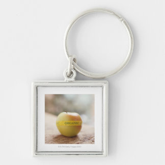 Organic sticker on apple Silver-Colored square key ring