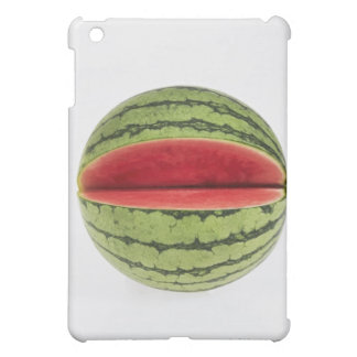 Organic watermelon with a slice cut into it, on iPad mini case