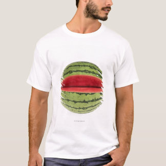 Organic watermelon with a slice cut into it, on T-Shirt