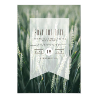Organic Wheat | Save The Date Photo 13 Cm X 18 Cm Invitation Card