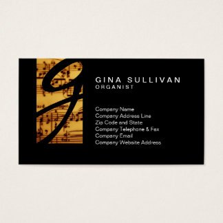 Organist Vintage Music Notes Monogram Music Business Card