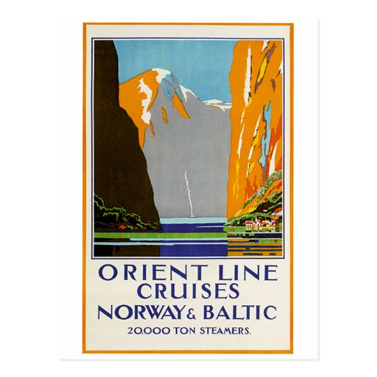 Orient Line Cruises Norway and Baltic Vintage Postcard
