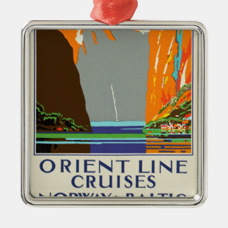 Orient Line Cruises ~ Norway & Baltic Silver-Colored Square Decoration
