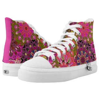 Orient Pink Mandala pattern | Indian motif High Tops
