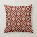 Orient Square Pattern in Red and Natural Look Cushion