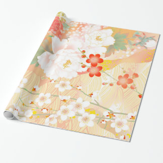 Oriental Accent Japanese Floral Soft Colors Wrapping Paper