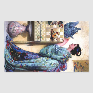 Oriental Art Woman Paintng Rectangular Sticker