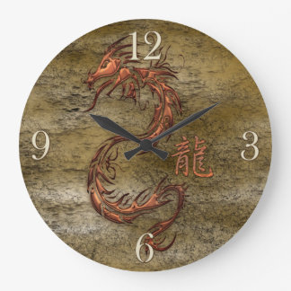Oriental Asian Dragon Designer Timepiece Large Clock