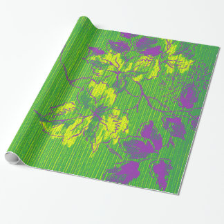 Oriental Bamboo Green Purple Emerald Cali Tree Wrapping Paper
