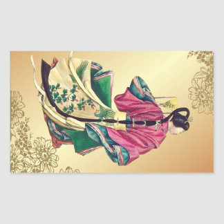 Oriental Beauty Rectangular Sticker