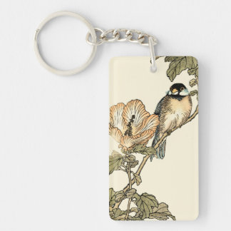 Oriental Bird Perched on Branch Double-Sided Rectangular Acrylic Key Ring