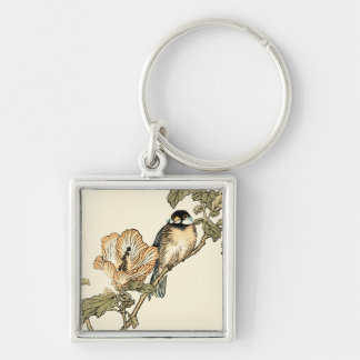 Oriental Bird Perched on Branch Silver-Colored Square Key Ring