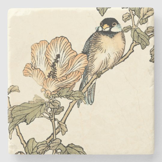Oriental Bird Perched on Branch Stone Beverage Coaster
