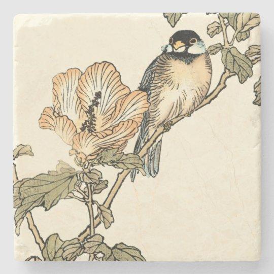 Oriental Bird Perched on Branch Stone Coaster
