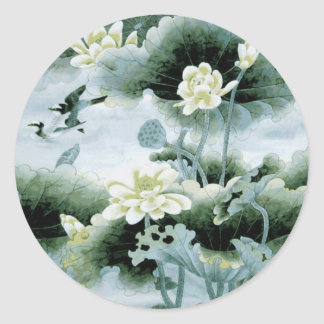 Oriental Birds and Flowers Classic Round Sticker